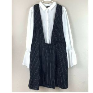 ECI New York Black & Ivory Pinstriped Jumper Dress